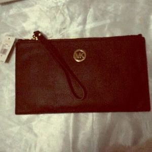 Michael Kors Black Leather wristlet NWT